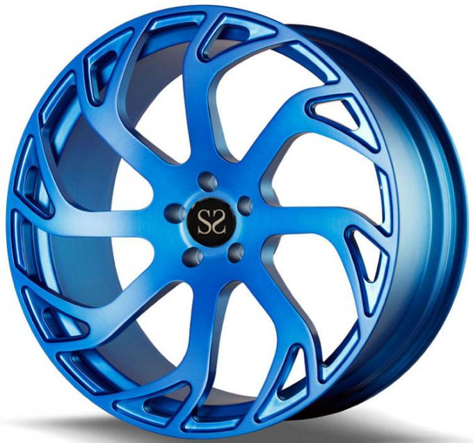 Custom 19 Inch Blue 1- Piece Forged Monoblock Alloy RIms For Ford