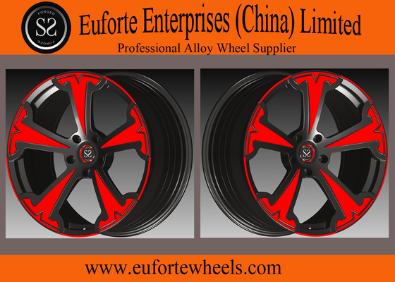 China SS wheels-Aluminum Alloy 6061 - T6 Forged Wheels Black With Red Face Forged Custom Wheels distributor