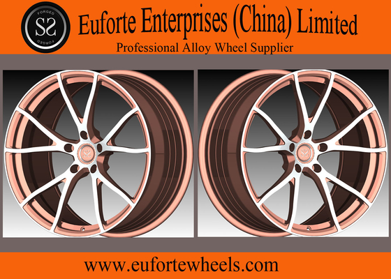 China SS wheels-Y Shape 5Spoke 1 Piece Forged Wheels Aluminum Alloy Black With Orange Face distributor