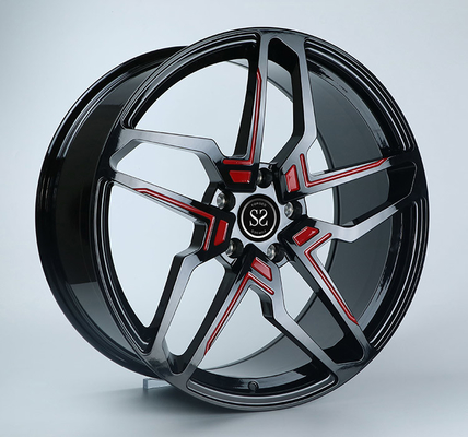 22x10 Gloss Black With Red 1-PC Mercedes Benz Wheels