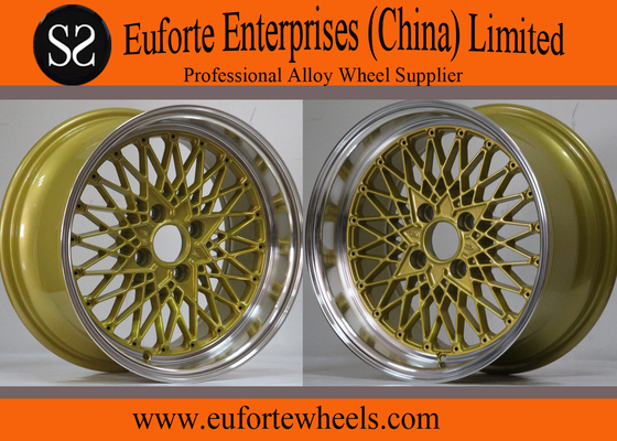 China 15 inch Aluminum Tuning Wheels Golden Custom Euro Style Rims / Colorful Wheel distributor